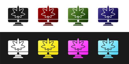 Set Computer monitor and medical marijuana or cannabis leaf icon isolated on black and white background. Online buying. Supermarket basket. Vector Illustration