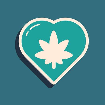 Green Marijuana leaf in heart shape icon isolated on green background. Hemp symbol. Long shadow style. Vector Illustration