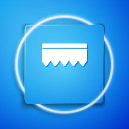 White Sponge with bubbles icon isolated on blue background. Wisp of bast for washing dishes. Cleaning service logo. Blue square button. Vector Illustration