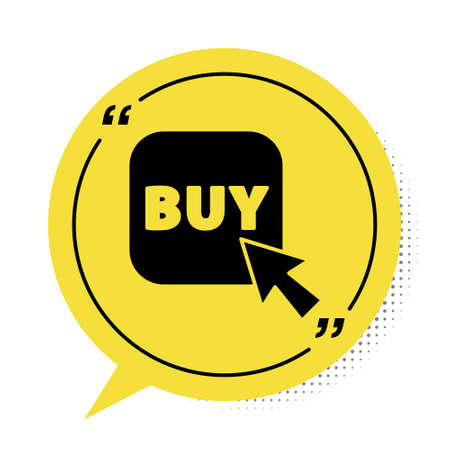 Black Buy button icon isolated on white background. Yellow speech bubble symbol. Vector Illustration