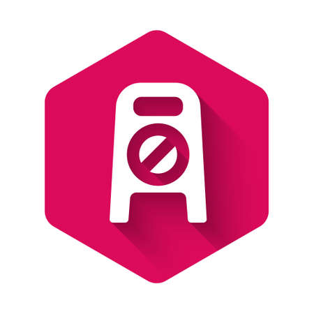 White Wet floor and cleaning in progress icon isolated with long shadow. Cleaning service concept. Pink hexagon button. Vector Illustration