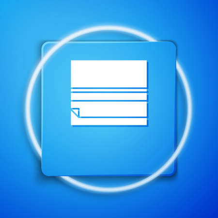 White Rolling paper icon isolated on blue background. Blue square button. Vector Illustration
