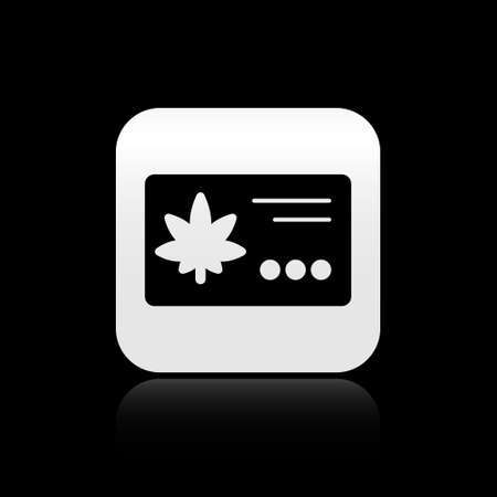 Black Calendar and marijuana or cannabis leaf icon isolated on black background. National weed day. Hemp symbol. Silver square button. Vector Illustration