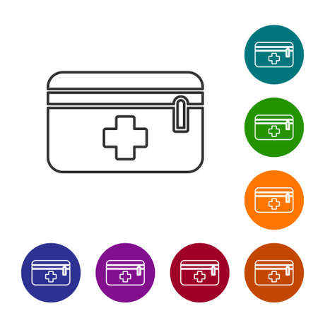 Black line First aid kit icon isolated on white background. Medical box with cross. Medical equipment for emergency. Healthcare concept. Set icons in color circle buttons. Vector Illustration