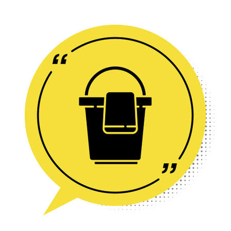 Black Bucket with rag icon isolated on white background. Cleaning service concept. Yellow speech bubble symbol. Vector Illustration