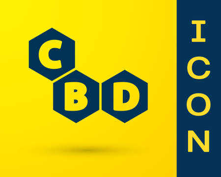 Blue Cannabis molecule icon isolated on yellow background. Cannabidiol molecular structures, THC and CBD formula. Marijuana sign. Vector Illustration Ilustracja