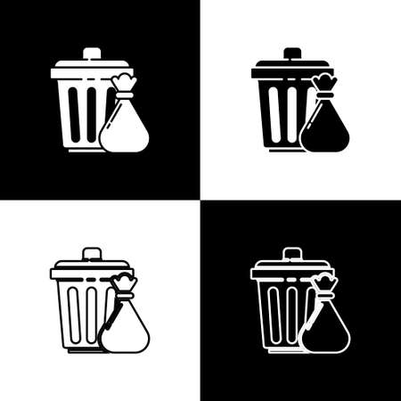 Set Trash can and garbage bag icon isolated on black and white background. Garbage bin sign. Recycle basket icon. Office trash icon. Vector Illustration