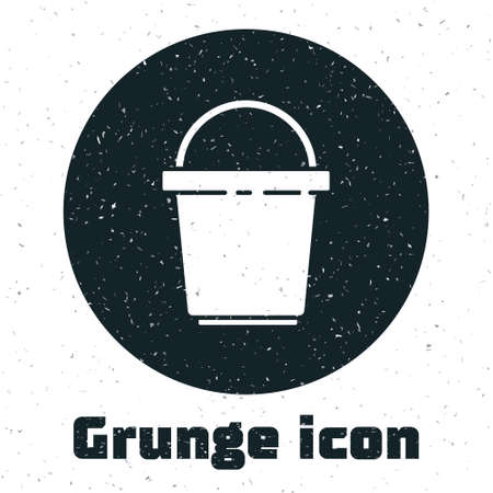 Grunge Bucket icon isolated on white background. Cleaning service concept. Monochrome vintage drawing. Vector Illustration