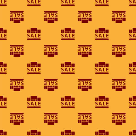 Red Shopping building or market store icon isolated seamless pattern on brown background. Supermarket sale concept. Vector Illustration