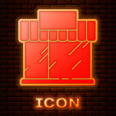 Glowing neon Shopping building or market store icon isolated on brick wall background. Shop construction. Vector Illustration Stock Illustratie