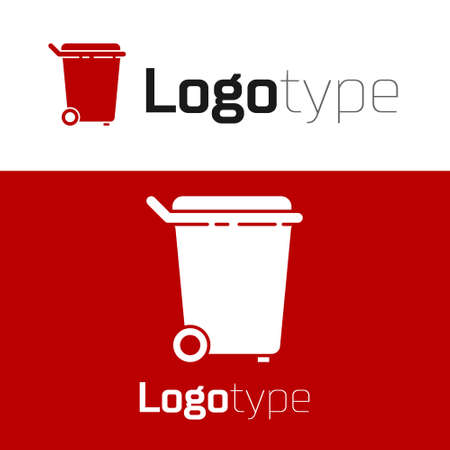 Red Trash can icon isolated on white background. Garbage bin sign. Recycle basket icon. Office trash icon. Logo design template element. Vector Illustration Stock Illustratie