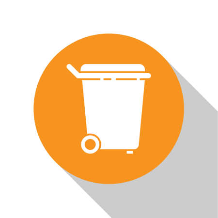 White Trash can icon isolated on white background. Garbage bin sign. Recycle basket icon. Office trash icon. Orange circle button. Vector Illustration