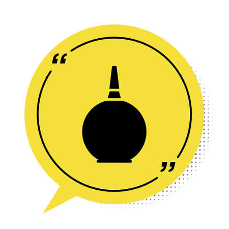 Black Enema icon isolated on white background. Enema with a plastic tip. Medical pear. Yellow speech bubble symbol. Vector Illustration