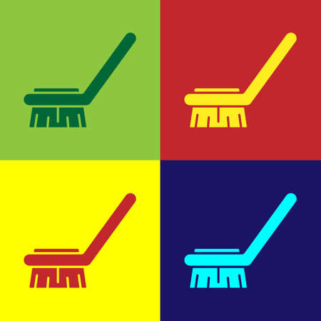Pop art Brush for cleaning icon isolated on color background. Cleaning service concept. Vector Illustration Ilustração