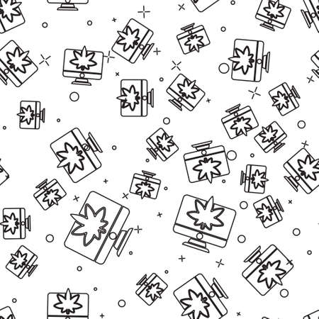 Black line Computer monitor and medical marijuana or cannabis leaf icon isolated seamless pattern on white background. Online buying. Supermarket basket. Vector Illustration Illustration