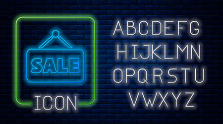 Glowing neon Hanging sign with text Sale icon isolated on brick wall background. Signboard with text Sale. Neon light alphabet. Vector Illustration
