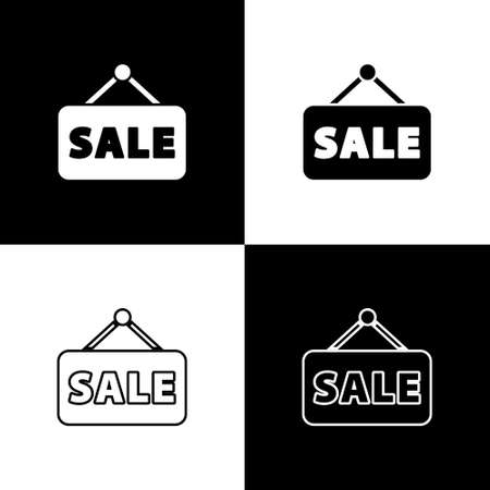 Set Hanging sign with text Sale icon isolated on black and white background. Signboard with text Sale. Vector Illustration