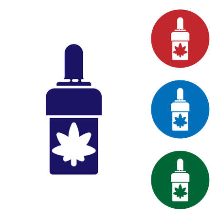 Blue Medical marijuana or cannabis leaf olive oil drop icon isolated on white background. Cannabis extract. Hemp symbol. Set icons in color square buttons. Vector Illustration