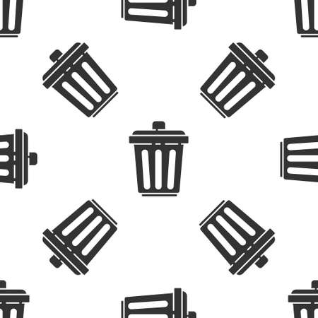 Grey Trash can icon isolated seamless pattern on white background. Garbage bin sign. Recycle basket icon. Office trash icon. Vector Illustration