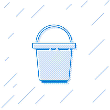 Blue line Bucket icon isolated on white background. Cleaning service concept. Vector Illustration Stock Illustratie