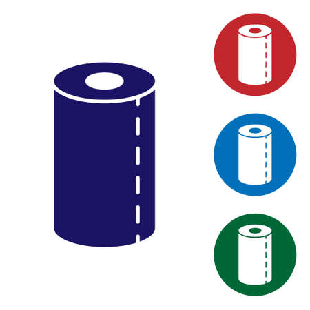 Blue Paper towel roll icon isolated on white background. Set icons in color square buttons. Vector Illustration
