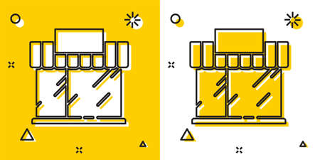 Black Shopping building or market store icon isolated on yellow and white background. Shop construction. Random dynamic shapes. Vector Illustration Stock Illustratie