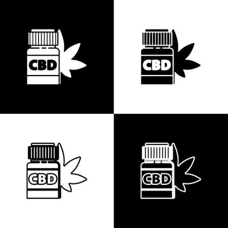Set Medical bottle with marijuana or cannabis leaf icon isolated on black and white background. Mock up of cannabis oil extracts in jars. Vector Illustration Illustration