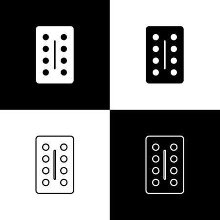 Set Pills in blister pack icon isolated on black and white background. Medical drug package for tablet, vitamin, antibiotic, aspirin. Vector Illustration