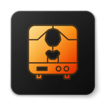 Orange glowing neon X-ray machine icon isolated on white background. Black square button. Vector Illustration Ilustracja