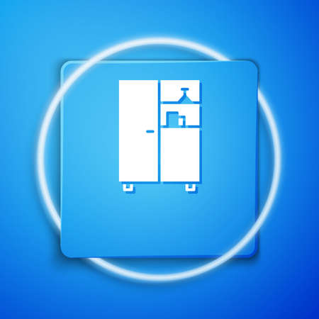 White Medicine cabinet icon isolated on blue background. Blue square button. Vector Illustration