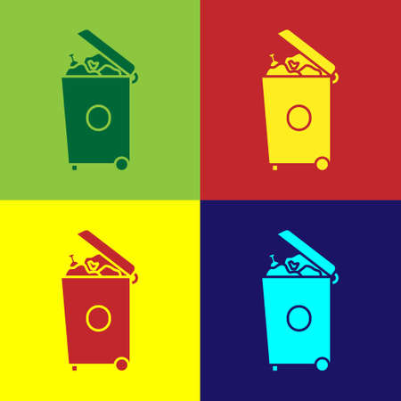Pop art Trash can icon isolated on color background. Garbage bin sign. Recycle basket icon. Office trash icon. Vector Illustration 向量圖像
