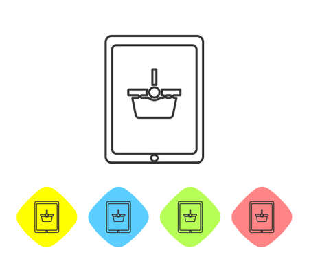 Grey line Shopping basket on screen tablet icon isolated on white background. Concept e-commerce, e-business, online business marketing. Set icons in color rhombus buttons. Vector Illustration 向量圖像