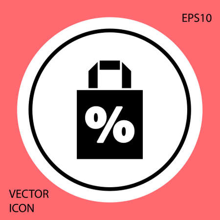 Black Shoping bag with an inscription percent discount icon isolated on red background. Handbag sign. White circle button. Vector Illustration 向量圖像