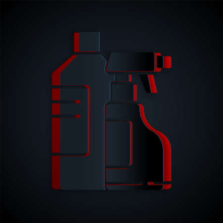 Paper cut Plastic bottles for laundry detergent, bleach, dishwashing liquid or another cleaning agent icon isolated on black background. Paper art style. Vector Illustration