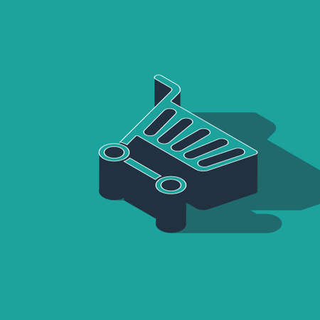 Isometric Shopping cart icon isolated on green background. Online buying concept. Delivery service sign. Supermarket basket symbol. Vector Illustration 向量圖像