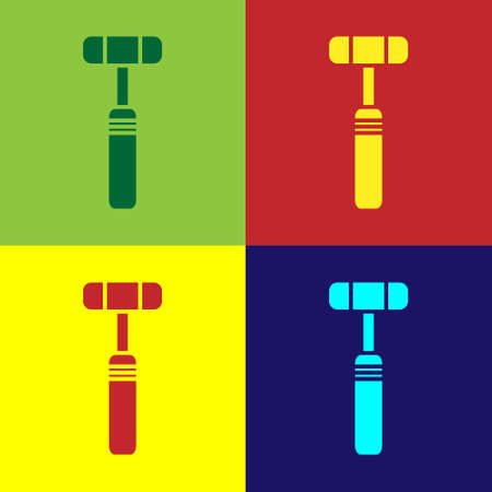 Pop art Neurology reflex hammer icon isolated on color background. Vector Illustration
