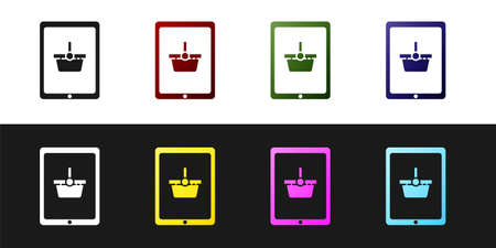 Set Shopping basket on screen tablet icon isolated on black and white background. Concept e-commerce, e-business, online business marketing. Vector Illustration