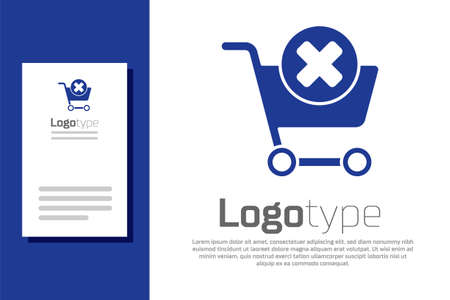 Blue Remove shopping cart icon isolated on white background. Online buying concept. Delivery service. Supermarket basket and X mark. Logo design template element. Vector Illustration