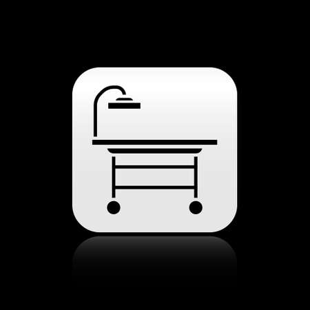 Black Operating table icon isolated on black background. Silver square button. Vector Illustration