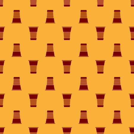 Red Paper glass icon isolated seamless pattern on brown background. Soda drink glass. Fresh cold beverage symbol. Vector Illustration 向量圖像