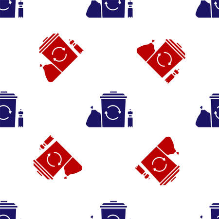 Blue and red Recycle bin with recycle symbol icon isolated seamless pattern on white background. Trash can icon. Garbage bin sign. Recycle basket. Vector Illustration 向量圖像