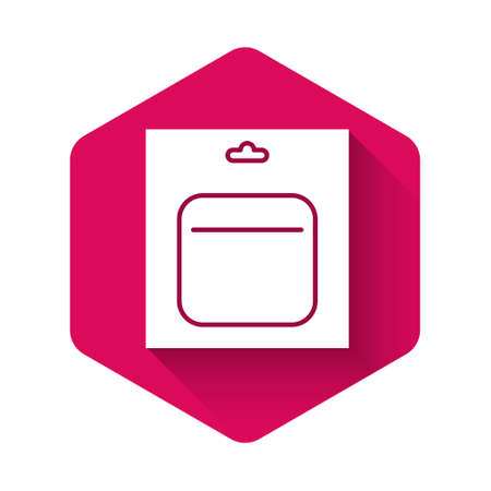 White Battery in pack icon isolated with long shadow. Lightning bolt symbol. Pink hexagon button. Vector Illustration