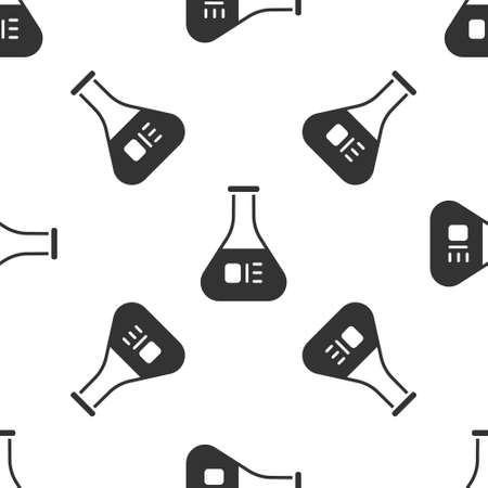 Grey Test tube and flask chemical laboratory test icon isolated seamless pattern on white background. Laboratory glassware sign. Vector Illustration