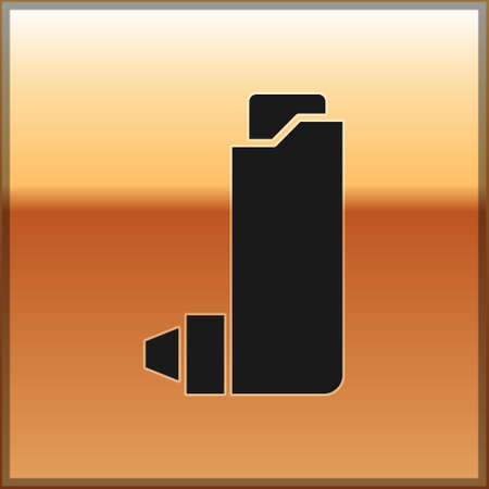 Black Inhaler icon isolated on gold background. Breather for cough relief, inhalation, allergic patient. Vector Illustration