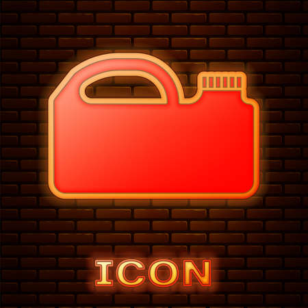 Glowing neon Plastic canister for motor machine oil icon isolated on brick wall background. Oil gallon. Oil change service and repair. Vector Illustration