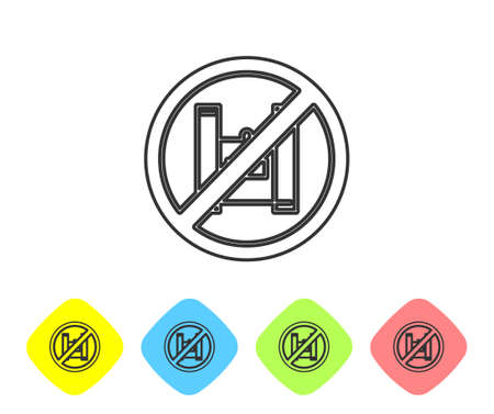 Grey line Say no to plastic bags poster icon isolated on white background. Disposable cellophane and polythene package prohibition sign. Set icons in color rhombus buttons. Vector Illustration