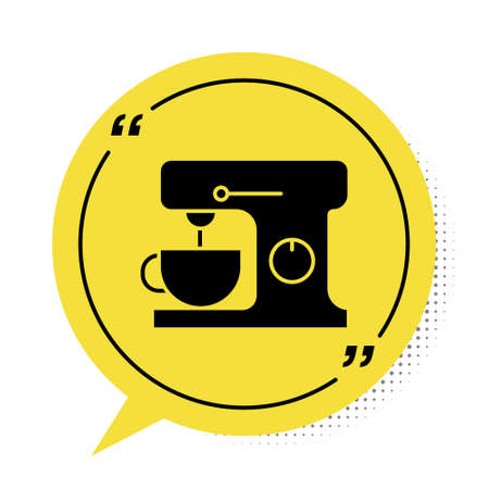 Black Electric mixer icon isolated on white background. Kitchen blender. Yellow speech bubble symbol. Vector Illustration