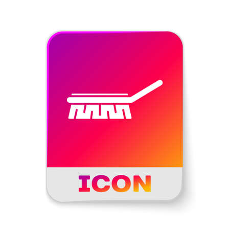 White Brush for cleaning icon isolated on white background. Cleaning service concept. Rectangle color button. Vector Illustration