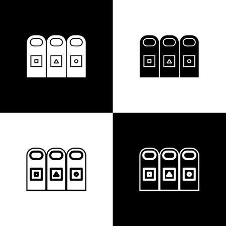 Set Trash in garbage cans with sorted garbage icon isolated on black and white background. Recycle basket icon. Vector Illustration