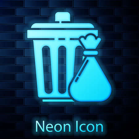 Glowing neon Trash can and garbage bag icon isolated on brick wall background. Garbage bin sign. Recycle basket icon. Office trash icon. Vector Illustration Stock Illustratie